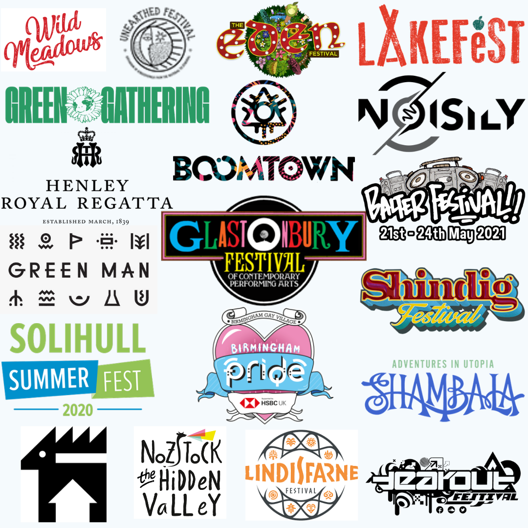 Logos of our past and current clients: Wild Meadows, Unearthed Festival, Eden Festival, Lakefest, Green Gathering Festival, Boomtown Festival, Noisily Festival, Henley Royal Regatta, Glastonbury Festival, Balter Festival, Shindig Festival, Birmingham Pride Festival, Solihull Summer Fest, Nozstock, Deer Shed, Lindisfarne, Tearout Festival, and Shambala Festival.
