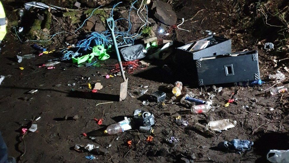 Bottles, laughing gas cylinders and other rubbish were left behind after the rave