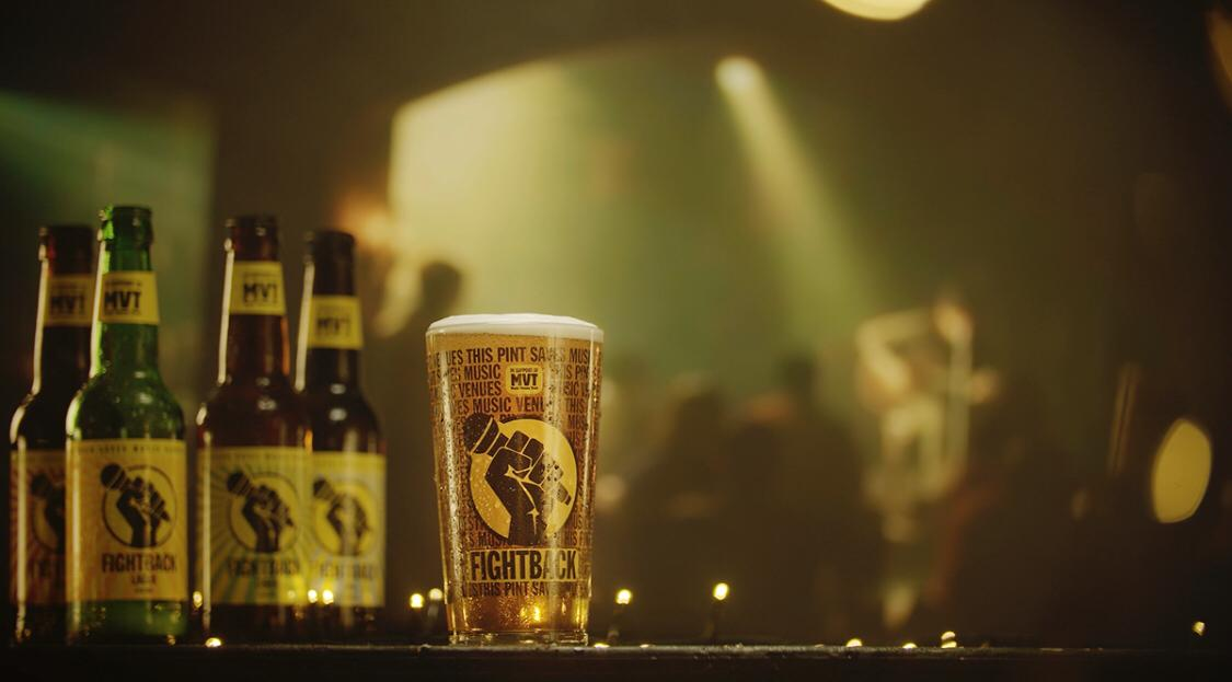 Fightback lager, bottled and in a glass