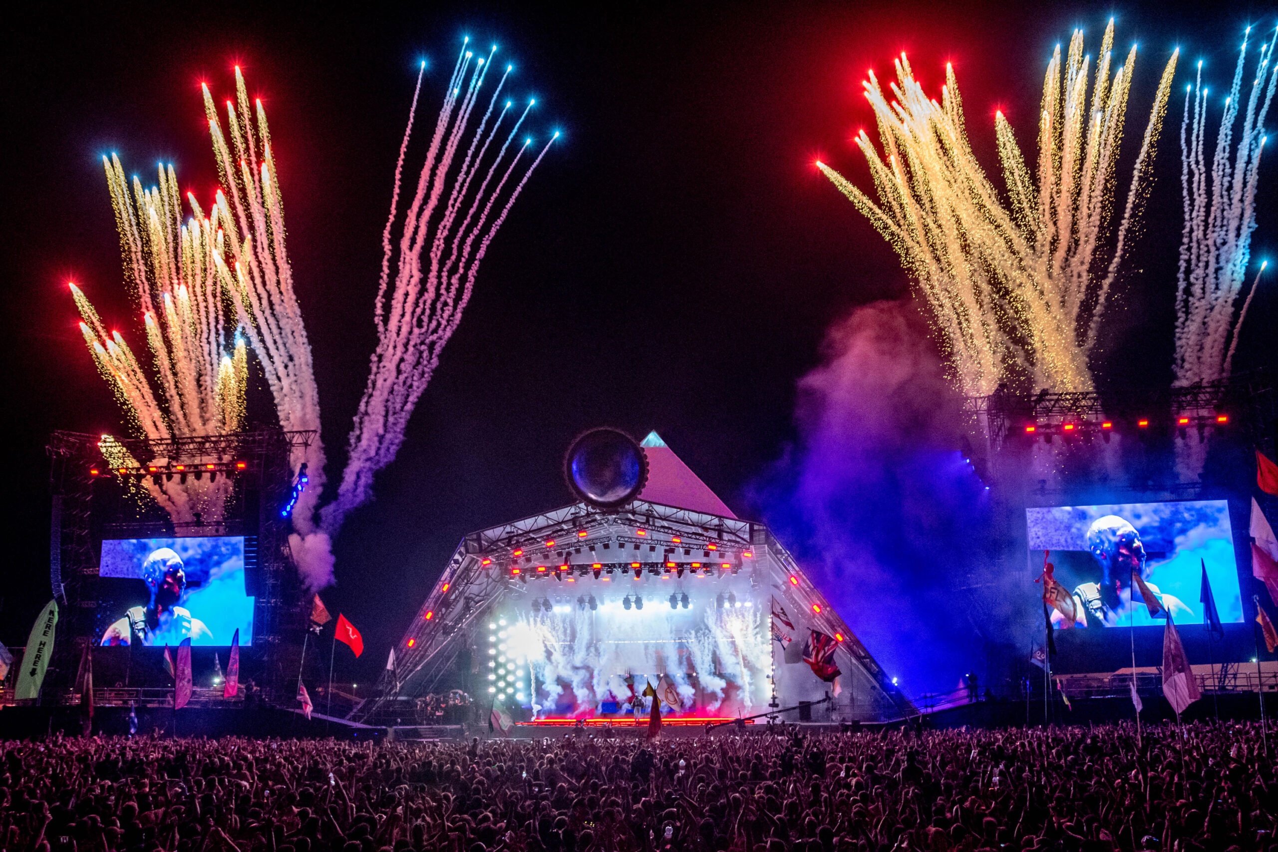 Stormzy performs on Glastonbury's Pyramid Stage in 2019