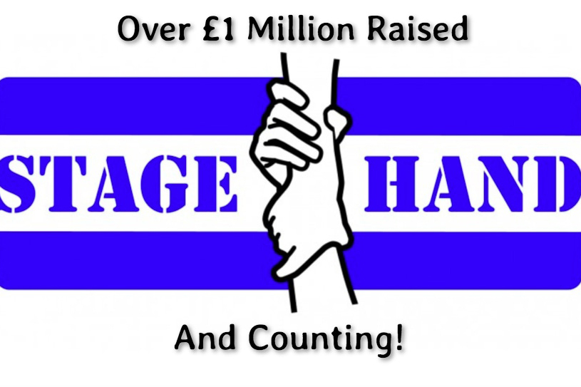 """Stagehand logo reads """"Over £1 million raised and counting"""""""