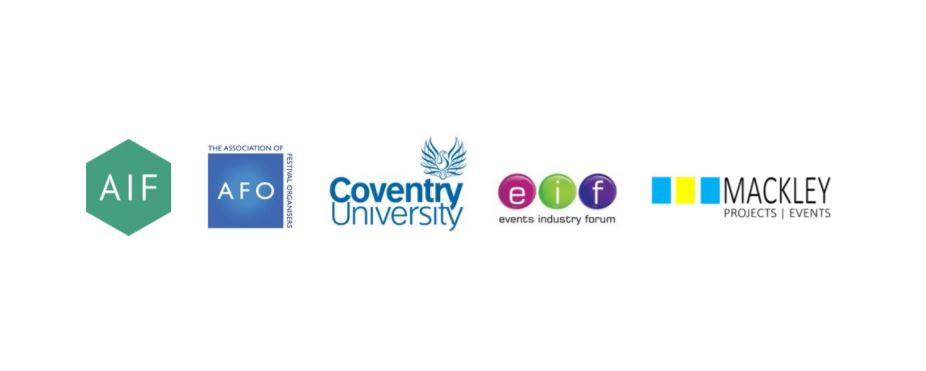 Logos for (left to right): Association of Independent Festivals, Association of Festival Organisers, Coventry University, Event Industry Forum, Mackley Projects & Events.