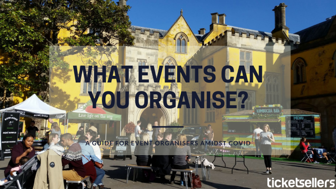 "Blog banner reads: ""What events can you organise? A guide for event organisers amidst covid."""