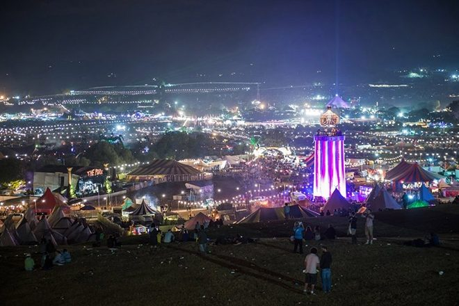 Glastonbury festival crowd and lights