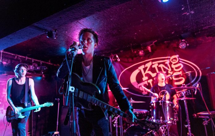 Billy Tessio, Carl Barat and Jay Bone of Carl Barat and The Jackals perform on stage at King Tut's Wah Wah Hut on May 26, 2017 in Glasgow, Scotland. (Photo by Roberto Ricciuti/Redferns)