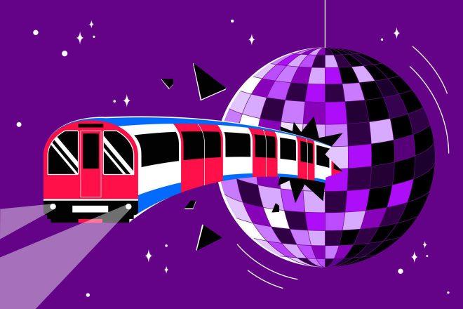 Illustration of tube train crashing into a disco ball