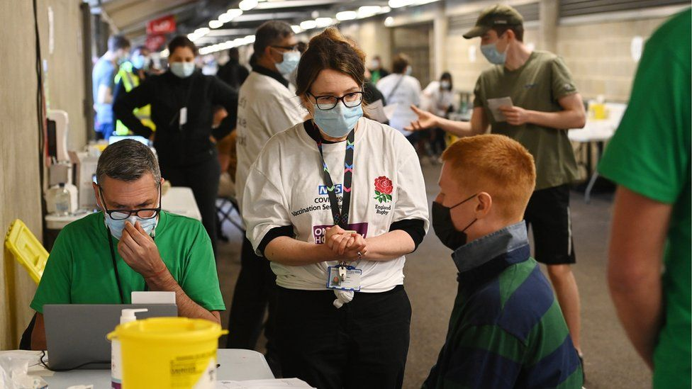 Twickenham Stadium was turned into a vaccine walk-in centre on Monday, including for over-18s