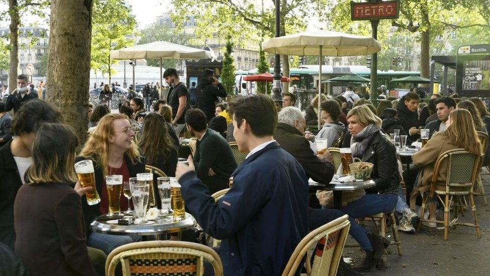 French cafes reopened last month for customers sitting outside - now they can sit inside too