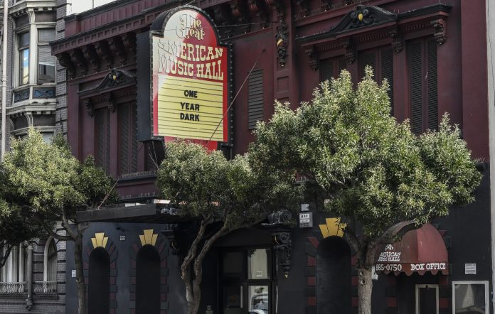 """SAN FRANCISCO, CA - MARCH 13: The Great American Music Hall participates in Save Our Stages """"One Year Dark"""" Marquee Campaign on March 13, 2021 in San Francisco, United States. (Photo by Steve Jennings/Getty Images)"""