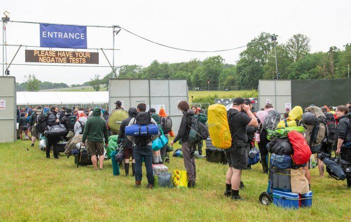 Fans arrive at Donington Park for the 2021 Download Pilot. Credit: Getty Images.