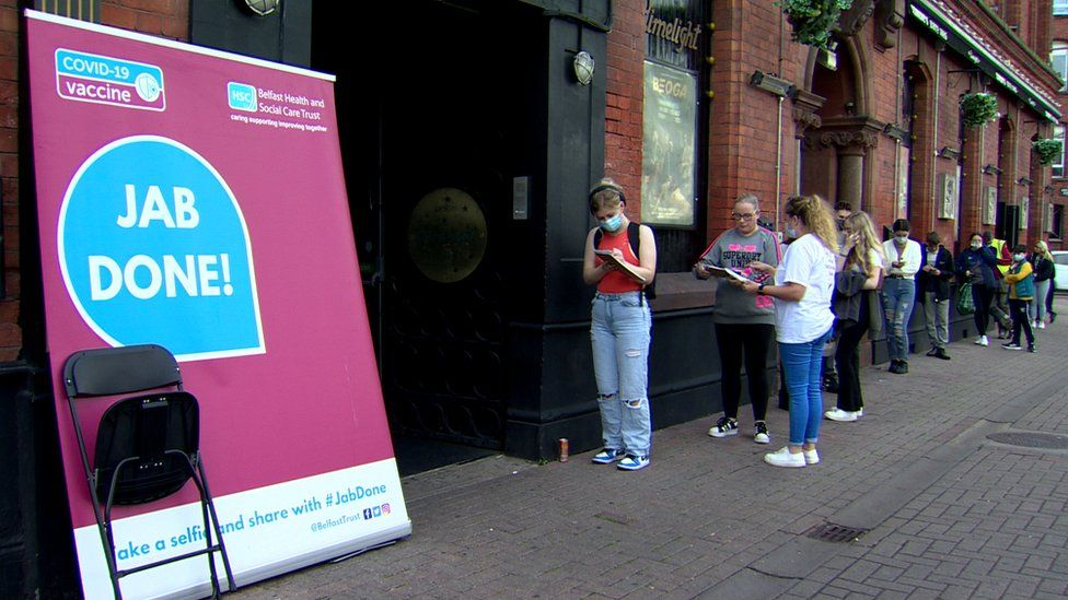 People queues for vaccines outside the Limelight on Saturday morning
