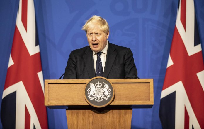 Britain's Prime Minister Boris Johnson attends a press conference in the Downing Street Briefing Room on September 14, 2021 in London, England. Credit: Richard Pohle - WPA Pool/Getty Images.